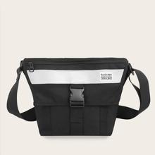 Men Reflective Detail Flap Crossbody Bag