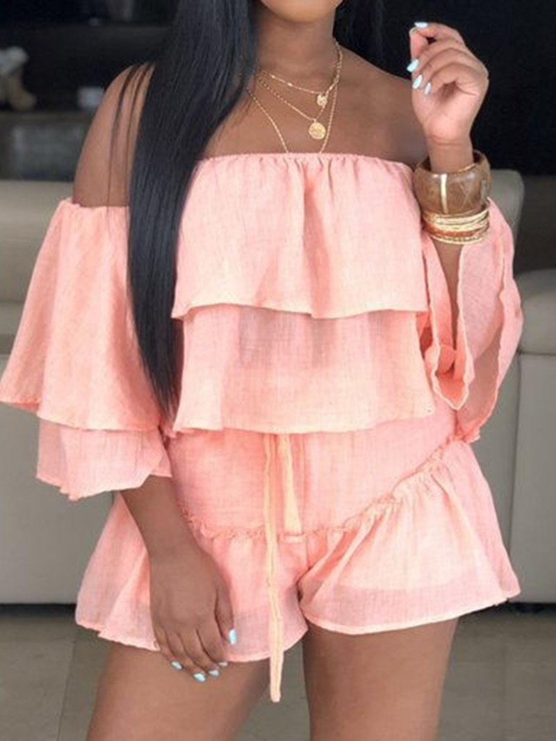 Ericdress Plain Off Shoulder T-Shirt And Shorts Two Piece Sets