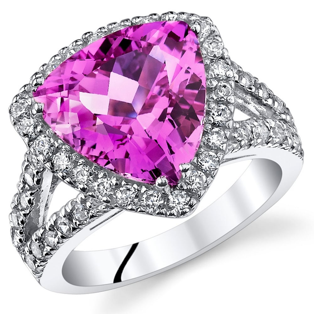Created Pink Sapphire Cocktail Ring in Sterling Silver 5.75 Carats (5)