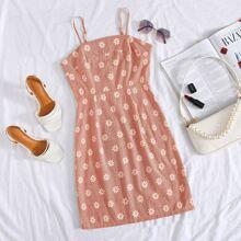 Cami Kleid mit Reissverschluss hinten und Gaensebluemchen Muster