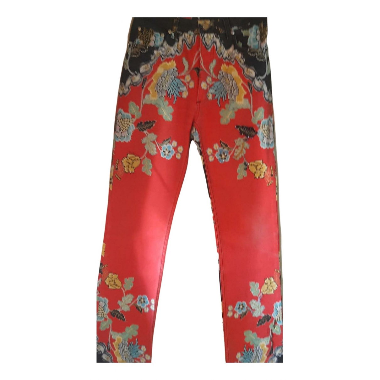 Roberto Cavalli \N Red Cotton Trousers for Women 40 IT