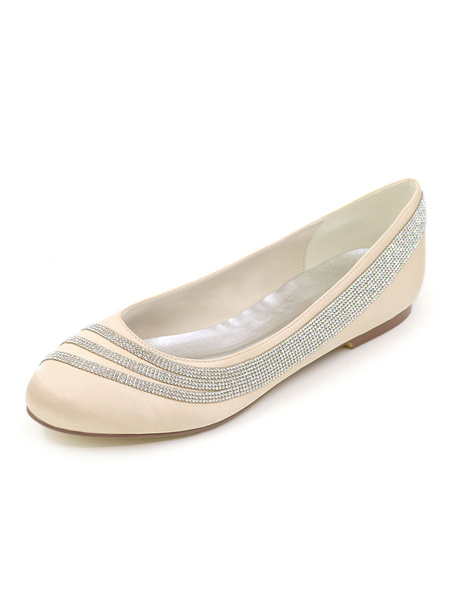 Milanoo Wedding Shoes Ivory Satin Rhinestones Round Toe Flat Bridal Shoes