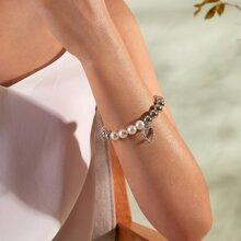 1pc Rhinestone Decor Heart Charm Pearl Beaded Bracelet