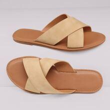 Overlap Open Toe Flat Slide Sandals