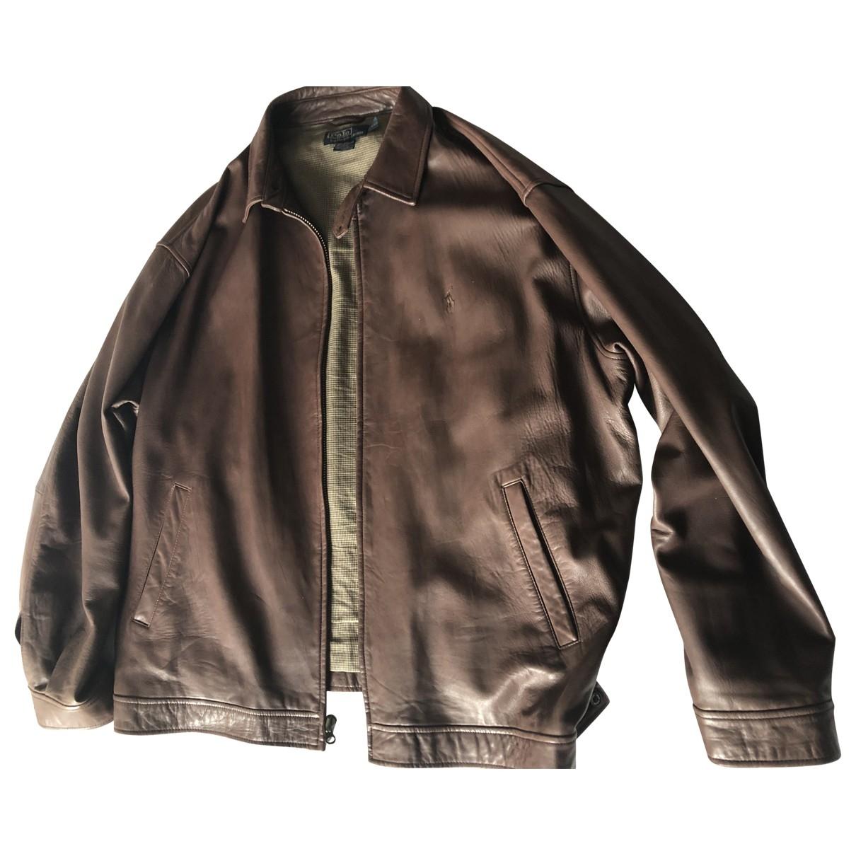 Polo Ralph Lauren - Vestes.Blousons   pour homme en cuir - marron
