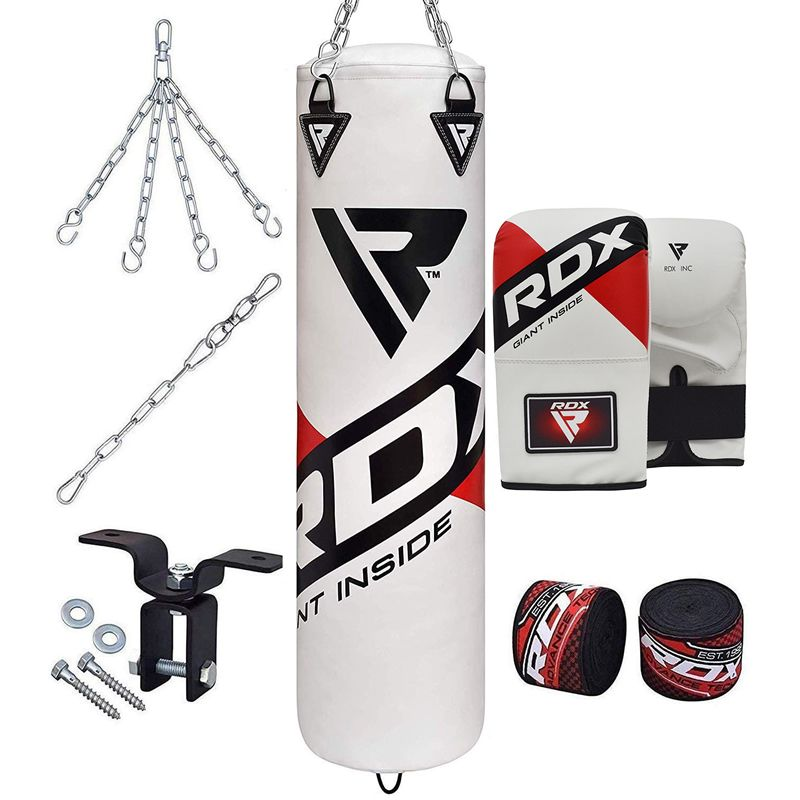 RDX F10 5ft 8pcs White Punch Bag and Mitts Cardio Workout Kit Unfilled Home Garage Gym Heavy Training Equipment Set MMA Kickboxing Karate Muay Thai