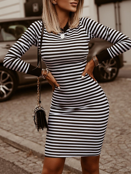 Yoins Sexy Black Striped Crew Neck Long Sleeves Midi Dress