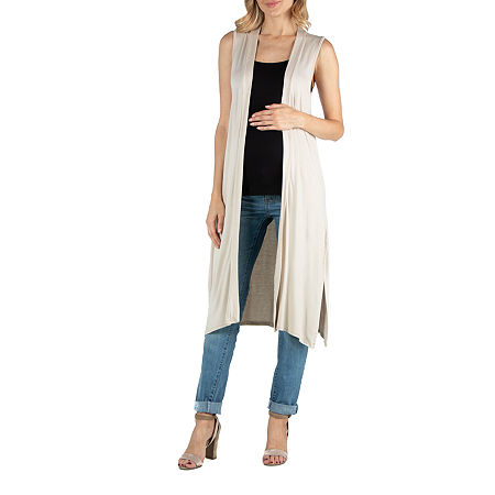 24/7 Comfort Apparel Sleeveless Long Cardigan with Side Slit, 2x , Beige