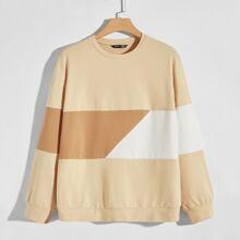 Sweatshirt Kleid mit Farbblock und sehr tief angesetzter Schulterpartie