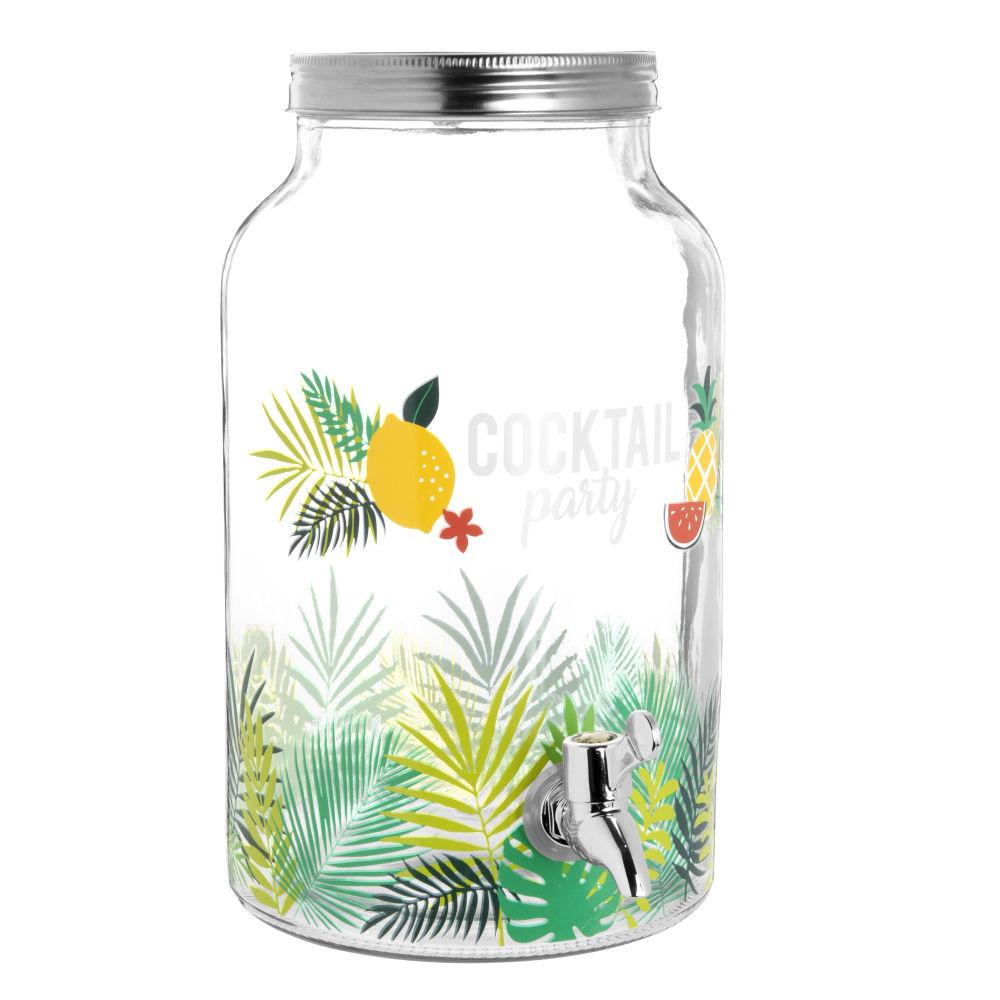 Getraenkespender aus Glas mit tropischem Druckmotiv 5,5 l