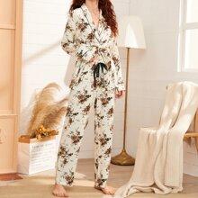 Floral Print Shawl Collar Belted PJ Set