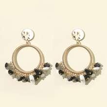 Bohemia Stone Decor Drop Earrings