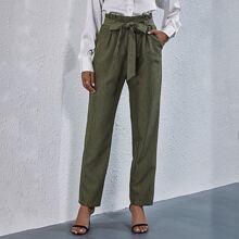 Pantalones de cintura con volante con cinturon