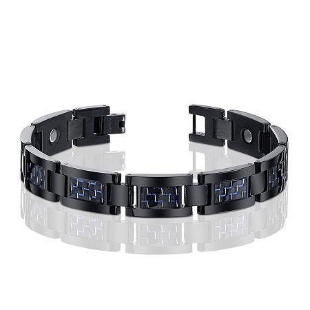 Mens Black Titanium with Blue Carbon Fiber Inlay Bracelet, One Size , Black