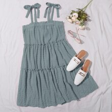 Cami Kleid mit Falten, mehrschichtiger Ruesche und Knoten