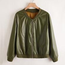 Plus PU Leather O-ring Zip Up Bomber Jacket