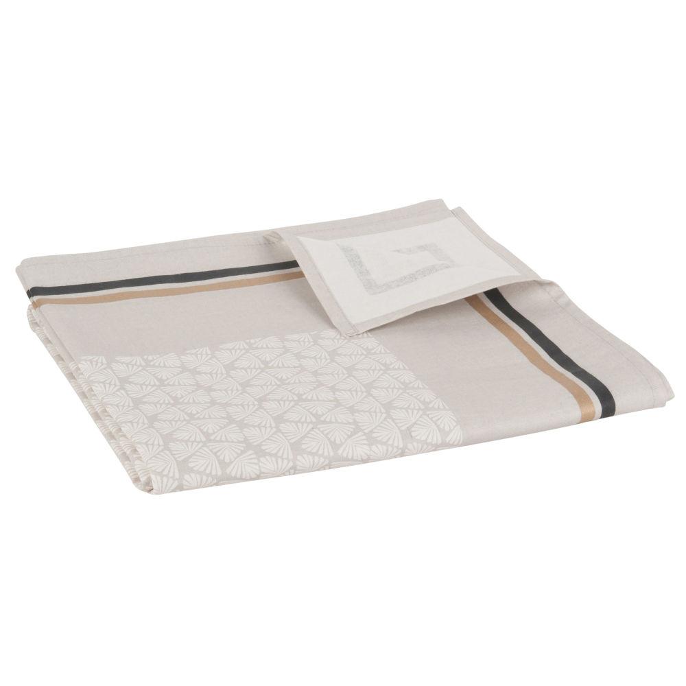 Beschichtete Tischdecke mit beigen und anthrazitgrauen Motiven 140x250