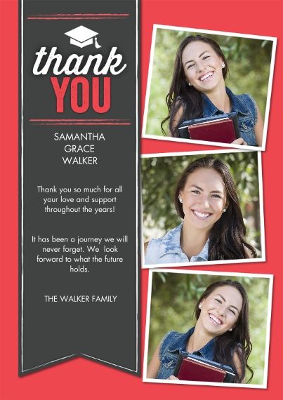 Graduation Thank You Cards Flat Glossy Photo Paper Cards with Envelopes, 5x7, Card & Stationery -Grad Thank you Ribbon by Tumbalina