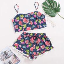 Schlafanzug Set mit Granatapfel & Punkten Muster