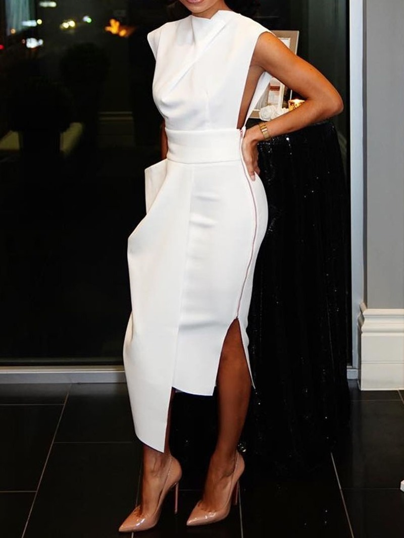 Ericdress Cap Sleeve Mid-Calf Falbala Plain Pullover Dress