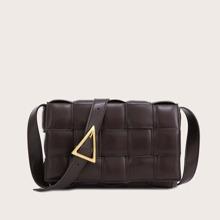 Woven Flap Crossbody Bag