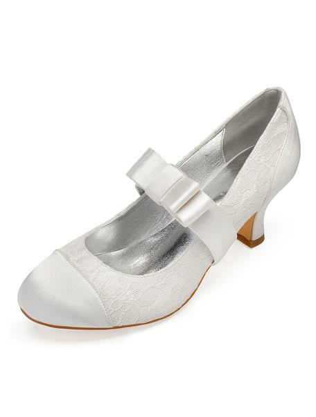 Milanoo White Wedding Shoes Satin Round Toe Bow Vintage Bridal Shoes Mary Jane Shoes