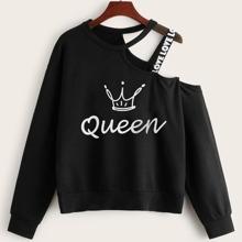 Sweatshirt mit Krone & Buchstaben Muster, Band und asymemtrischem Kragen