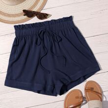 Plus Solid Paperbag Waist Wide Leg Shorts