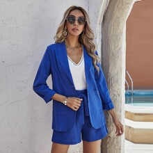Single Button Dual Pocket Blazer With Belted Shorts