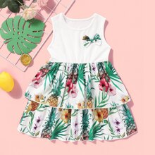 Toddler Girls Pineapple & Tropical Print Bow Front A-line Dress