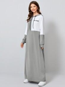 Zweifarbiges Sweatshirt Kleid mit Buchstaben Grafik, Kordelzug und Kapuze