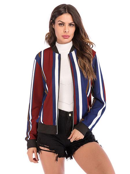 Milanoo Stripe Varsity Jacket Mujeres Zip Up Cotton Long Sleeve ligero chaqueta del estadio