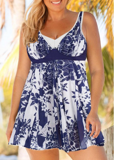 Women'S Blue And White Plus Size V Neck Two Piece Swimdress Bathing Suit Keyhole Back Padded Wire Free Swimsuit And Shorts By Rosewe - 0X