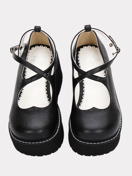 Milanoo Gothic Lolita Shoes Black Cross Platform Wedge Lolita Shoes Round Toe Lolita Pumps