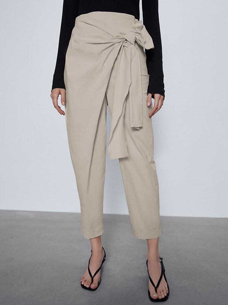 Straight-Legged Asymmetrical Pleated Bowknot Belt Elastic Waist Pants