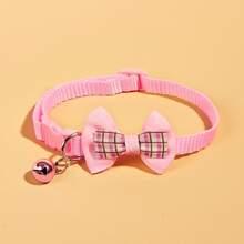 Plaid Bow Decor Dog Collar