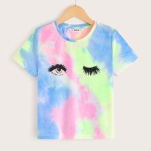 Camiseta de niñas de tie dye con estampado de pestaña y ojo