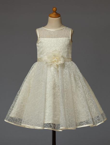Milanoo Vestido para las niñas de flores de organza de marfil Escote transparente con flor sin tirantes sin mangas
