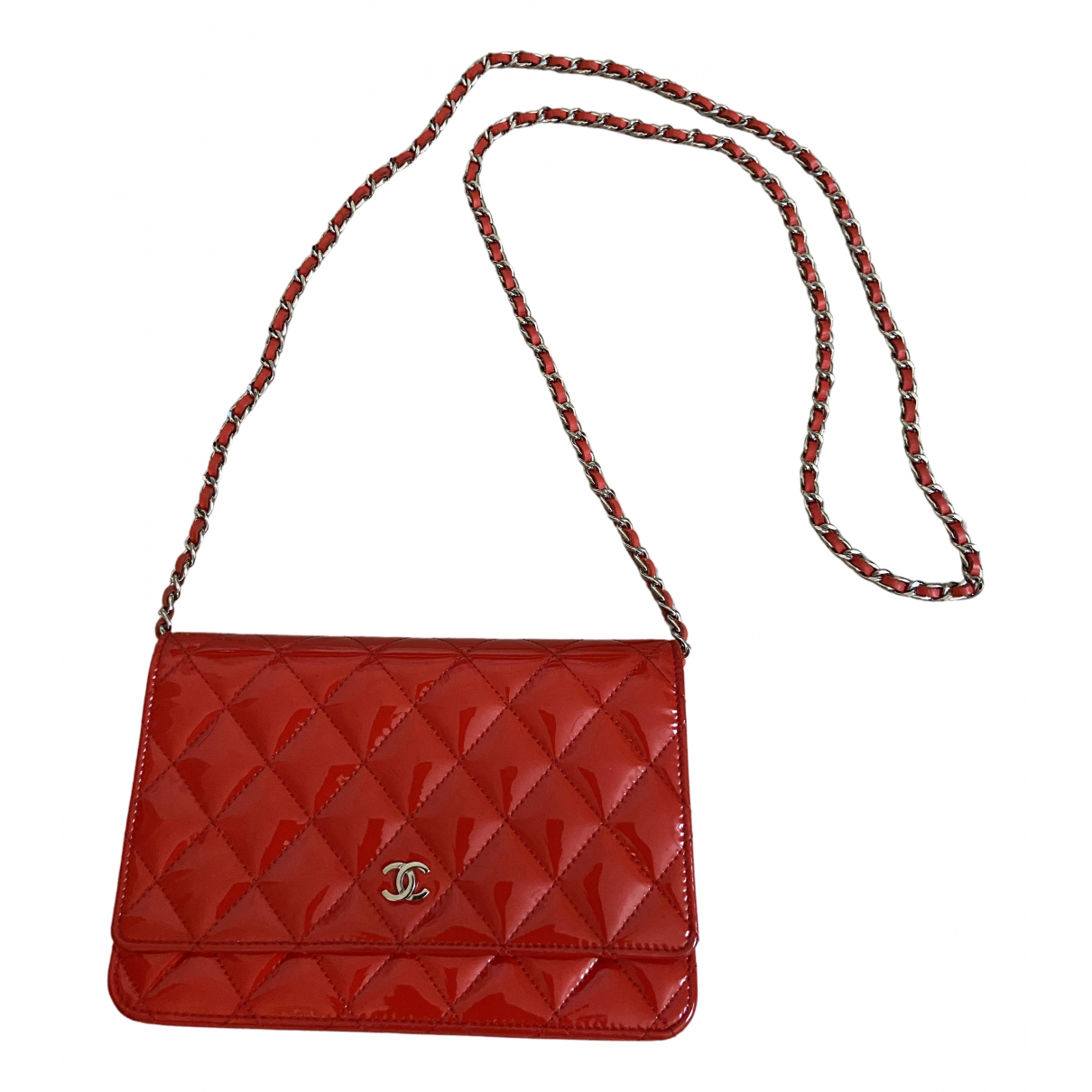 Chanel Wallet on Chain Clutch in  Rot Lackleder