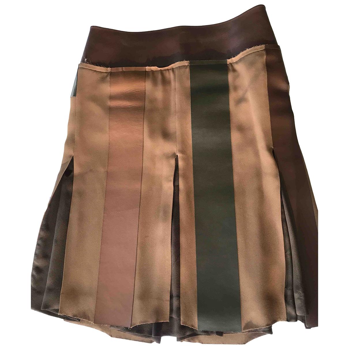 Celine N Brown Leather skirt for Women 40 FR
