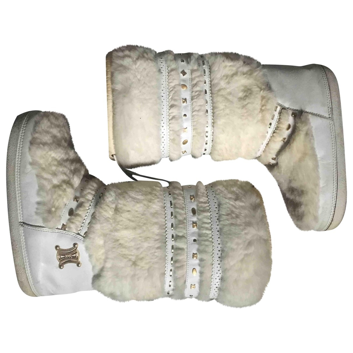Celine \N White Leather Boots for Women 38 EU