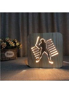 Natural Wooden Creative Playing Baseball Pattern Design Light for Kids
