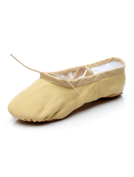 Milanoo Ballet Dance Shoes Ecru White Round Toe Dance Shoes Cotton Ballet Shoes