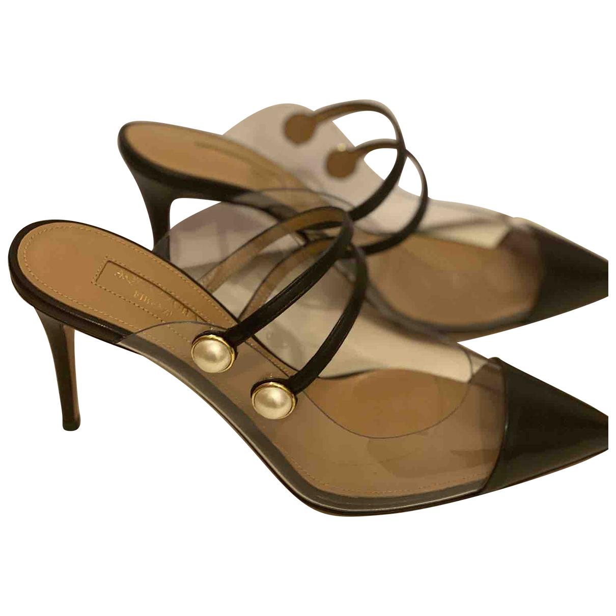 Aquazzura \N Black Leather Mules & Clogs for Women 36 EU