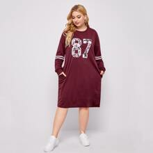 Plus Letter And Striped Drop Shoulder Dress