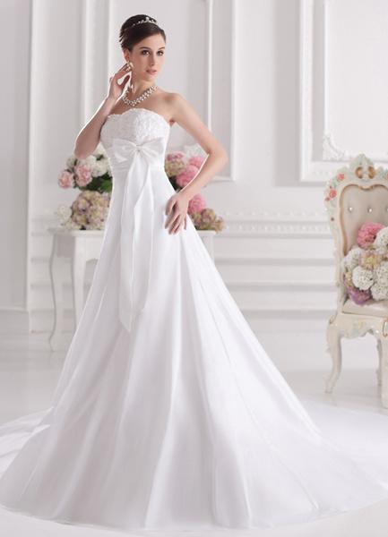 Milanoo White A-line Strapless Applique Taffeta Bridal Wedding Gown