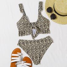 Bikini Badeanzug mit Leopard Muster, Ruesche und Knoten vorn