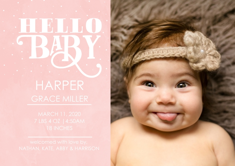 Baby Girl Announcements 5x7 Cards, Premium Cardstock 120lb with Elegant Corners, Card & Stationery -Typography Baby Pink