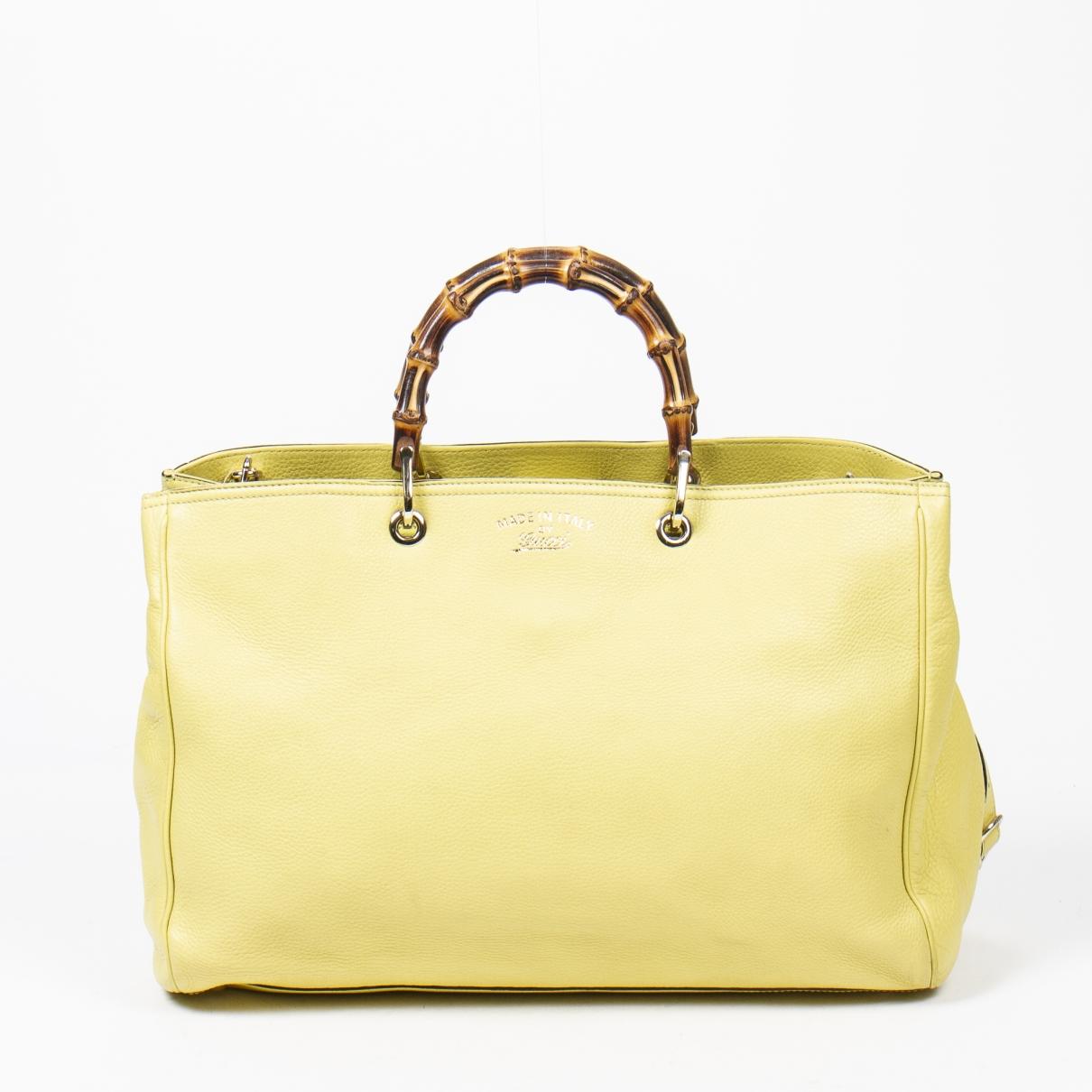 Gucci Bamboo Handtasche in  Gelb Leder