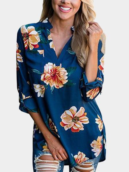 Yoins Blue V-neck Roll up Sleeves Random Floral Print Blouse